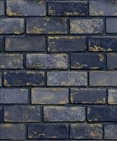 Arthouse Industrial Metallic Brick Blue 692200 Wallpaper